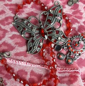 Vintage set earrings and necklace butterfly